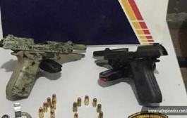 Quatro indivíduos são detidos com duas pistolas e 33 munições