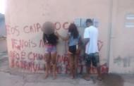 Trio é detido por pichar muros a mando de facção em Cuiabá